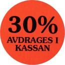 Etikett 30% Avdrages i Kassan 2000st/rulle